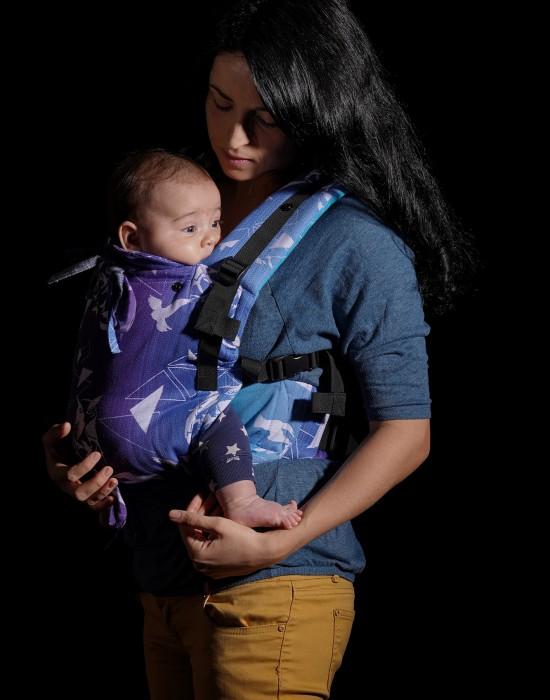 """Ergonomic baby carrier """"Korra"""" - Blue birds"""