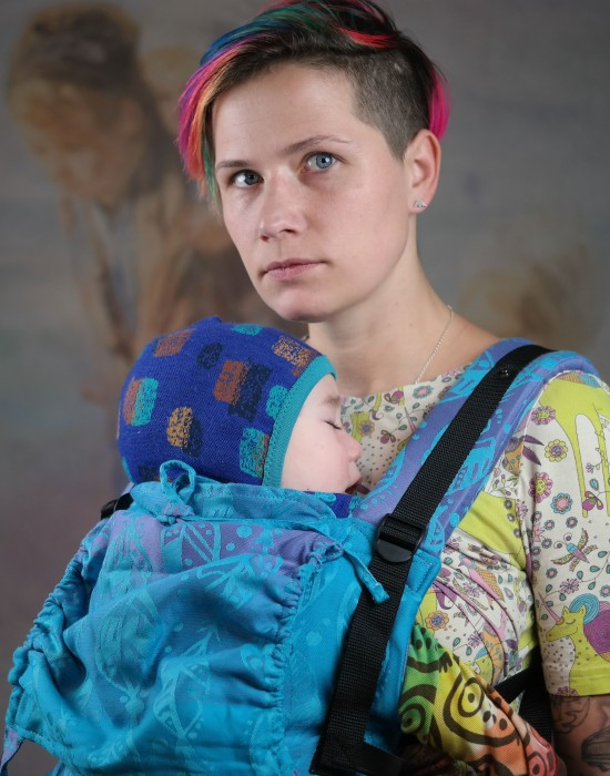 "Ergonomic baby carrier ""Korra"" - FEATHERS"